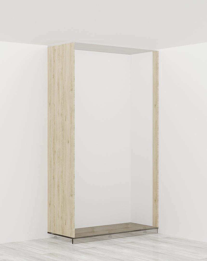 1 x bok szafy + 1 x listwa (szafa z lewej str. przylega do ściany budynku)