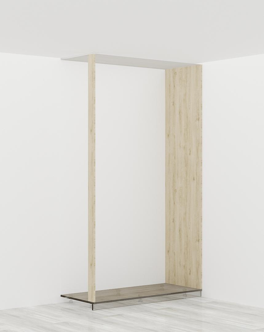 1 x bok szafy + 1 x listwa (szafa z prawej str. przylega do ściany budynku)
