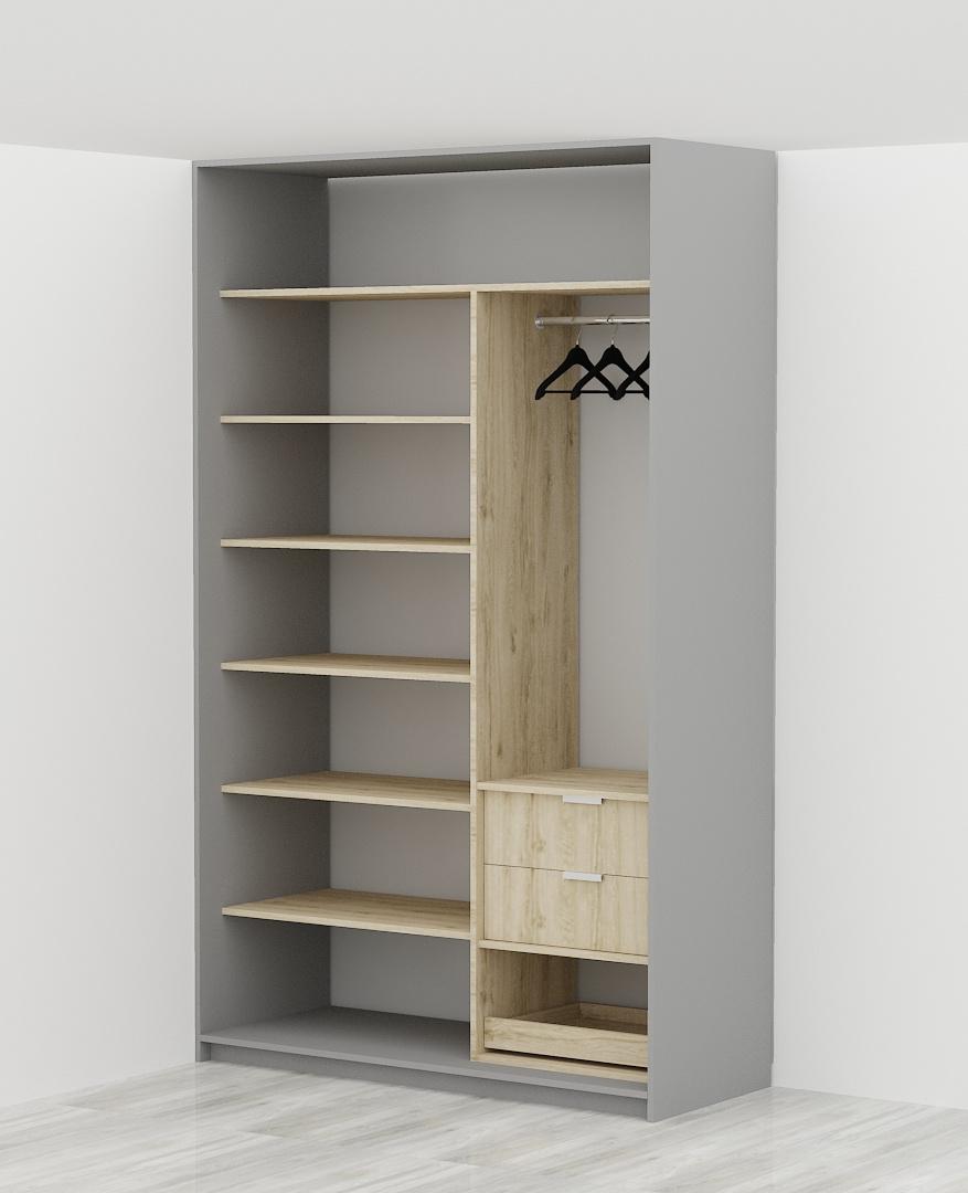 bez ściany tylnej (tyłem szafy jest istniejąca ściana - rozwiązanie standardowe)